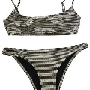 Triangl Navy and white stripped ribbed bikini